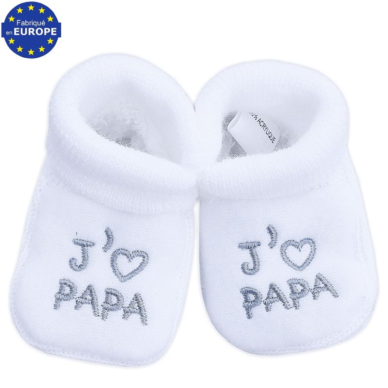 chaussons mixte pour b b broderie j 39 aime papa. Black Bedroom Furniture Sets. Home Design Ideas