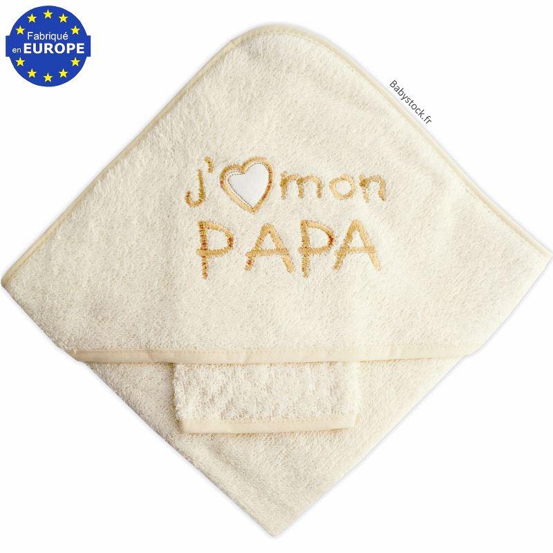 bc930412acb23 Sortie de bain pour bébé + gant en éponge brodée J aime mon Papa ...